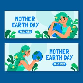Ręcznie rysowane banery dzień matki ziemi