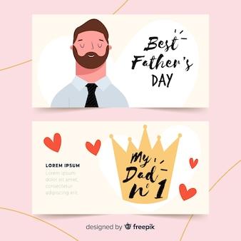 Ręcznie rysowane banery dzień ojca