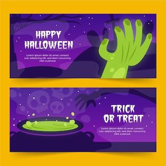 Ręcznie rysowane banery halloween