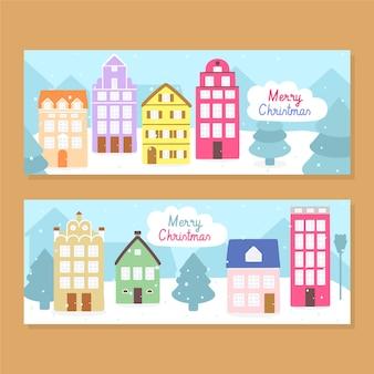 Ręcznie rysowane banery miasto boże narodzenie