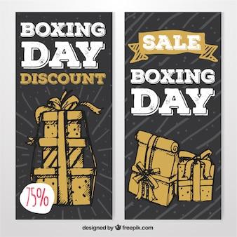Ręcznie rysowane banery na dzień boksie