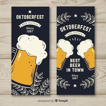Ręcznie rysowane banery oktoberfest