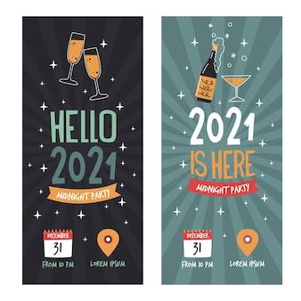 Ręcznie rysowane banery partii nowego roku 2021