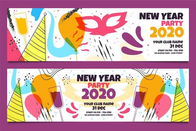 Ręcznie rysowane banery party nowy rok 2020