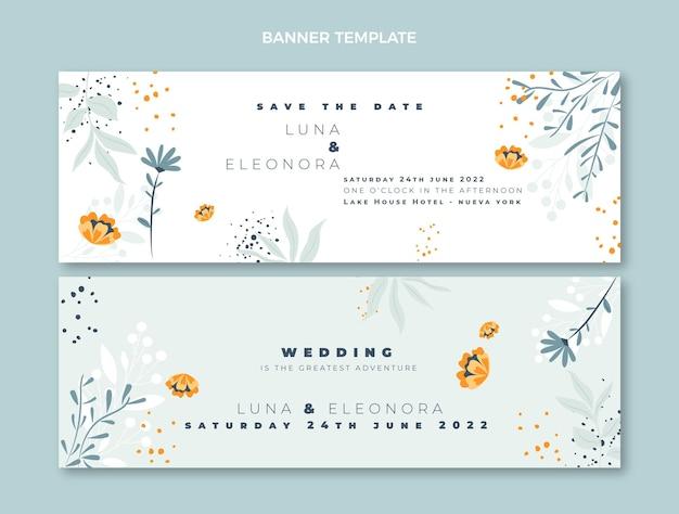 Ręcznie rysowane banery ślubne poziome