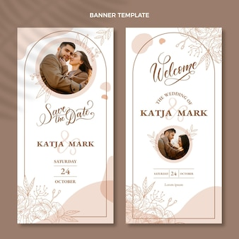 Ręcznie rysowane banery ślubne zestaw