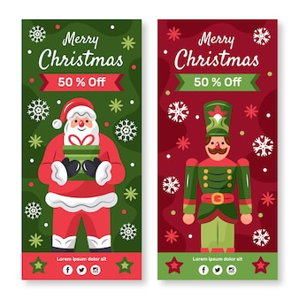 Ręcznie rysowane banery sprzedaż świąteczna