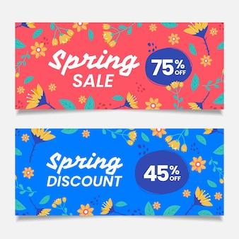 Ręcznie rysowane banery sprzedaż wiosna