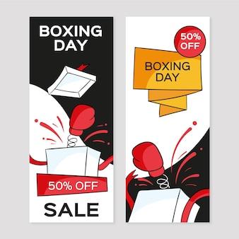 Ręcznie rysowane banery sprzedaży boksu