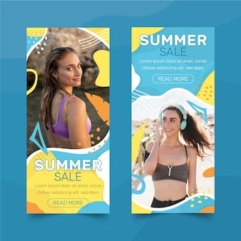 Ręcznie rysowane banery sprzedaży lato zestaw ze zdjęciem