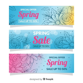 Ręcznie rysowane banery sprzedaży wiosna