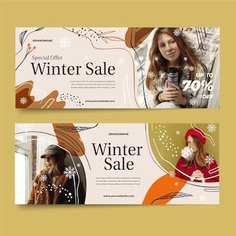 Ręcznie rysowane banery sprzedaży zimowej