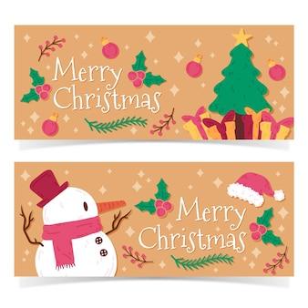 Ręcznie rysowane banery świąteczne