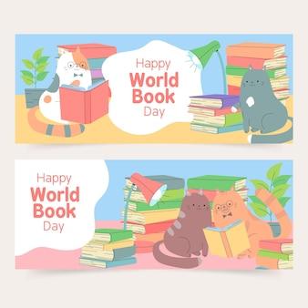 Ręcznie rysowane banery światowego dnia książki