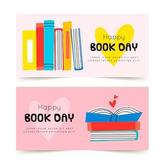 Ręcznie rysowane banery światowy dzień książki