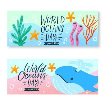 Ręcznie rysowane banery światowy dzień oceanów