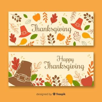 Ręcznie rysowane banery święto dziękczynienia