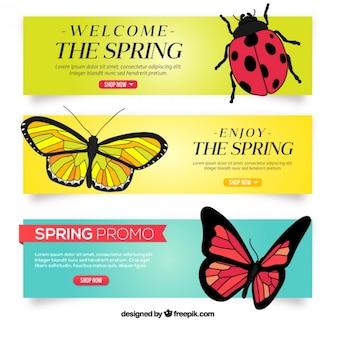 Ręcznie rysowane banery wiosenne owady