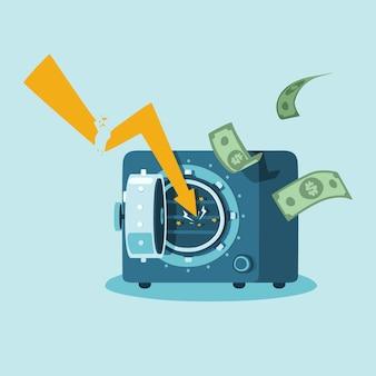 Ręcznie rysowane bankructwo bez bezpiecznych pieniędzy