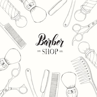 Ręcznie rysowane barber shop z brzytwą, nożyczkami, pędzlem do golenia, grzebieniem, klasycznym fryzjerem polakiem.