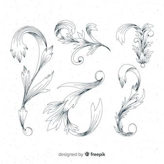 Ręcznie rysowane barokowe rodzaje kwiatów