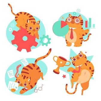 Ręcznie rysowane bernie kolekcja naklejek kota