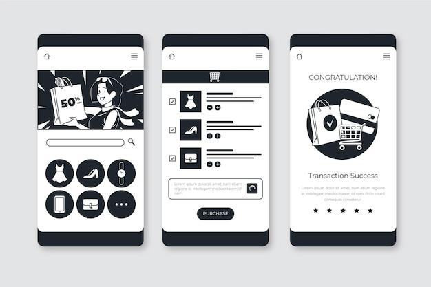 Ręcznie rysowane bezbarwne aplikacje w płaskiej konstrukcji