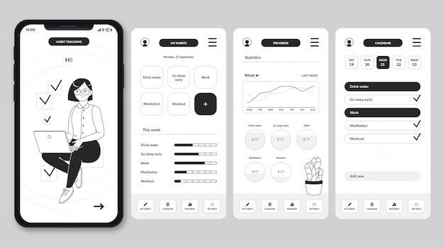 Ręcznie rysowane bezbarwne aplikacje