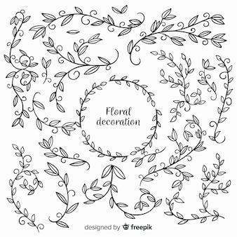 Ręcznie rysowane bezbarwne elementy kwiatowe