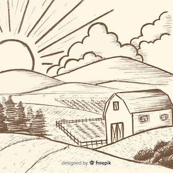 Ręcznie rysowane bezbarwny krajobraz gospodarstwa