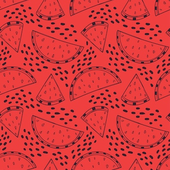 Ręcznie rysowane bezszwowe czerwone tło z plastrami arbuza