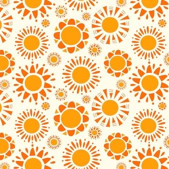Ręcznie rysowane bezszwowe słońce wzór