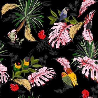 Ręcznie rysowane bezszwowe wzór tropikalny concep`t