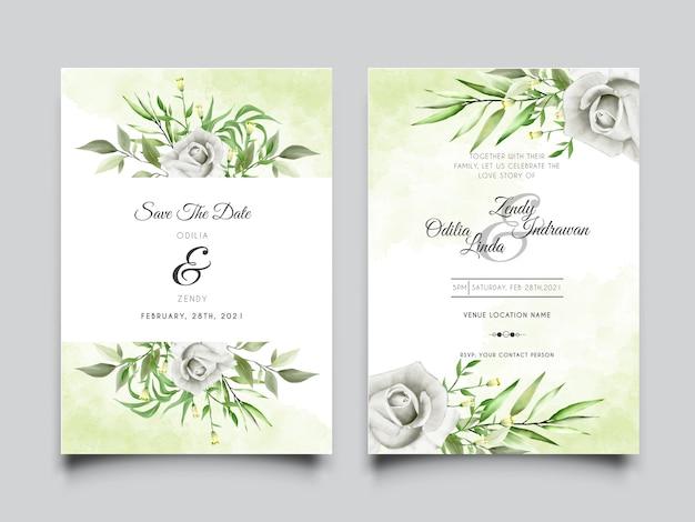 Ręcznie rysowane białe róże i zieleń pozostawia zaproszenia ślubne