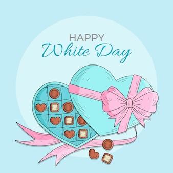 Ręcznie rysowane biały dzień z czekoladą