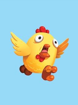 Ręcznie rysowane biegający kurczak