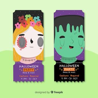 Ręcznie rysowane bilety halloween z twarzami potwora