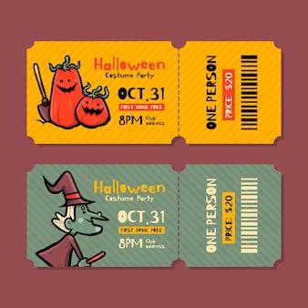 Ręcznie rysowane bilety halloween