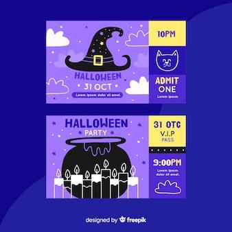 Ręcznie rysowane bilety na halloween