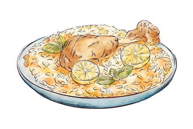 Ręcznie rysowane biryani z kurczaka