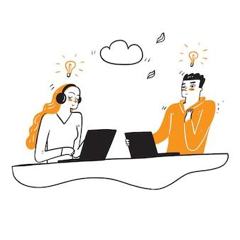 Ręcznie rysowane biznes ilustracja. postacie ludzi rozwijają kreatywny pomysł na biznes.