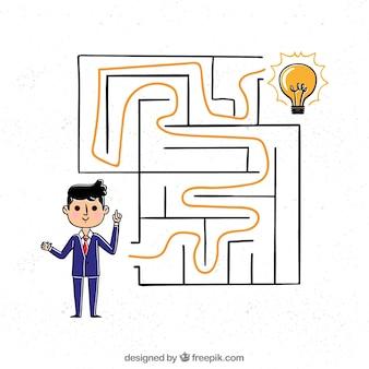 Ręcznie rysowane biznes koncepcja z labiryntem