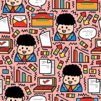 Ręcznie rysowane biznes kreskówka doodle wzór projektu