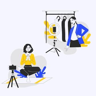 Ręcznie rysowane blogerzy o płaskiej konstrukcji