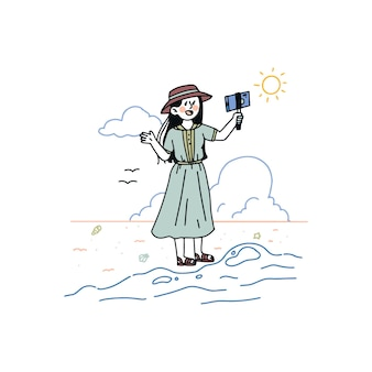 Ręcznie rysowane blogger ilustrowany