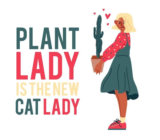 Ręcznie rysowane blond dziewczyna kochająca rośliny i cytat