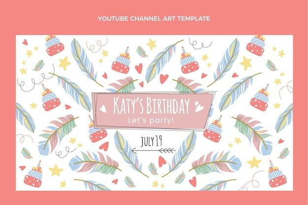 Ręcznie rysowane boho urodziny kanału youtube sztuka