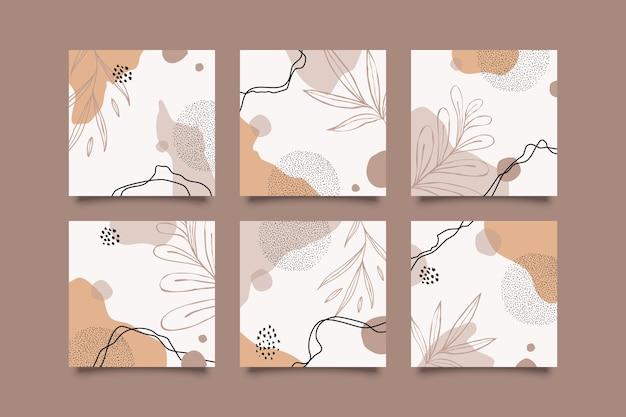 Ręcznie rysowane botaniczny post w mediach społecznościowych