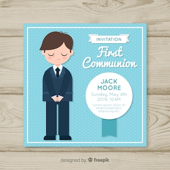 Ręcznie rysowane boy first communion invitation