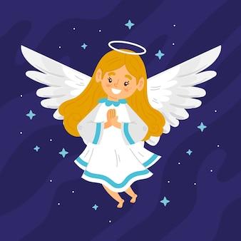 Ręcznie rysowane boże narodzenie anioły ilustracja